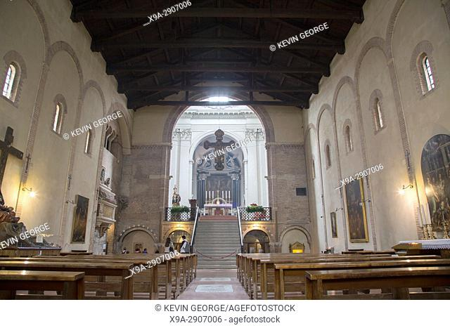 Nave of Basilica Church Santo; Stefano; Bologna; Italy
