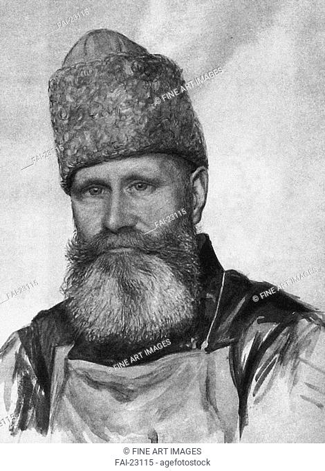Vladimir Fyodorovich Dzhunkovsky (1865-1938) in the Taganka Prison. Anonymous . Lithograph. Realism. 1919-1920. Russia. Private Collection. Portrait