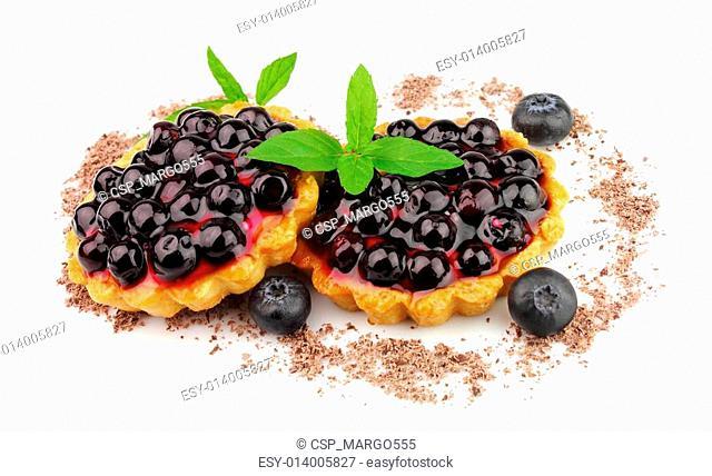 Pie with fresh bilberry