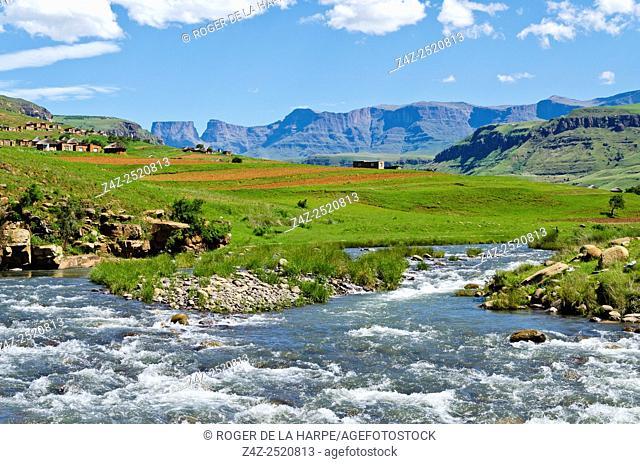 Mhlwazini River near the Cathedral Peak region of the Ukhahlamba Drakensberg Park. KwaZulu Natal. South Africa