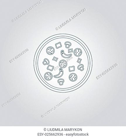 Pizza. Flat web icon or sign isolated on grey background. Collection modern trend concept design style vector illustration symbol