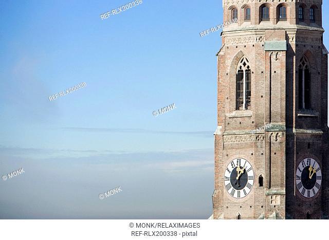 Clock tower of Frauenkirche church Munich, Bavaria, Germany