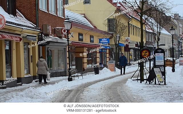Snow on a tiny street in Ystad, Sweden