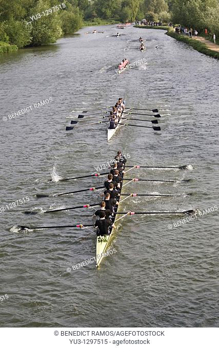 Eights Week Oxford University college rowing competition on the Isis, Oxford, Oxfordshire, England