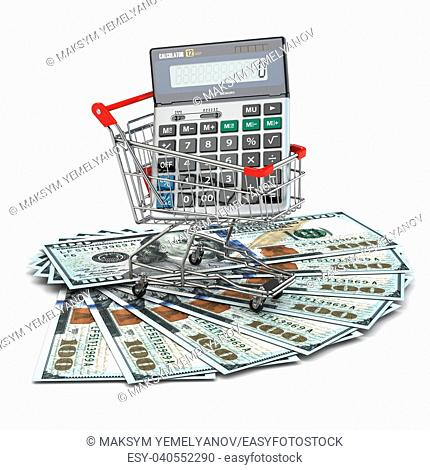 Shopping cart with calculator on dollar banknotes. 3d