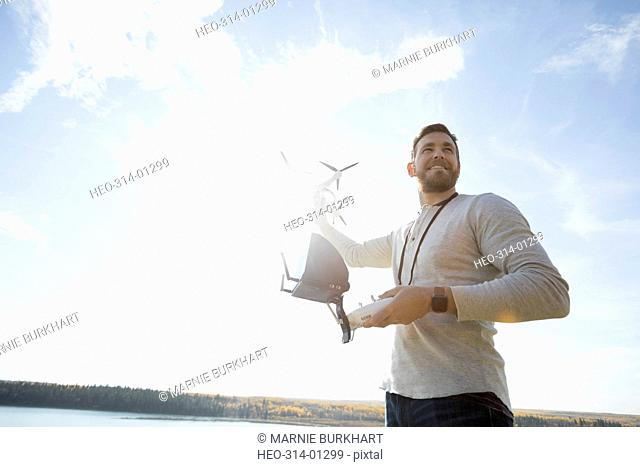 Man with drone equipment