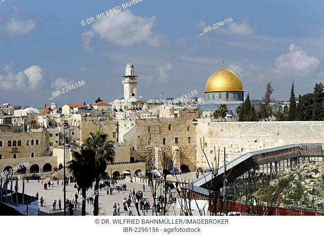 Dome of the Rock and Western Wall, Jerusalem, Israel, Middle East