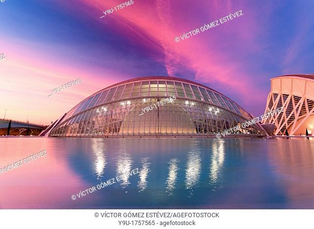 Hemisferic in City of Arts and Sciences in Valencia at red sunset