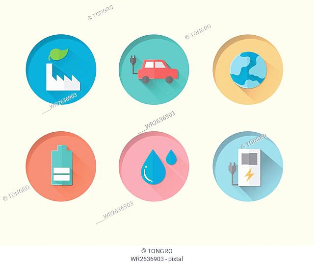 Various button icons related to alternative energy
