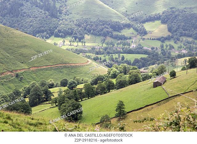 Valles Pasiegos Cantabria landscape wiht green field Spain