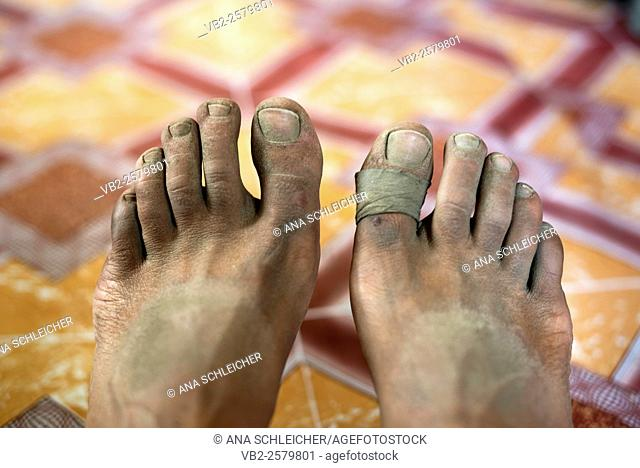 Dusty feet after a day's trekking. Trekking in Markha valley Laddakh, India