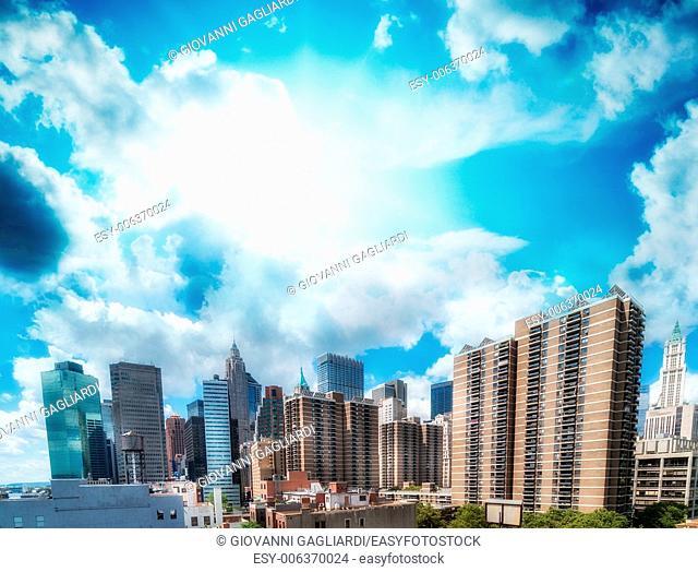 Beautiful view of Lower Manhattan Skyscrapers - New York City