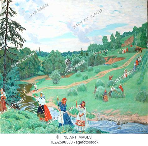 Hay Making, 1917. Found in the collection of the State Tretyakov Gallery, Moscow