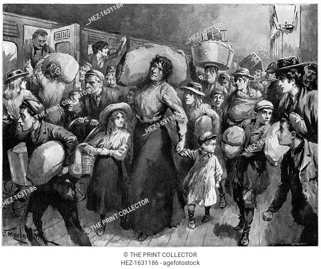Hop-pickers leaving London Bridge at midnight, 1900. Print from The Illustrated London News (8 September 1900)