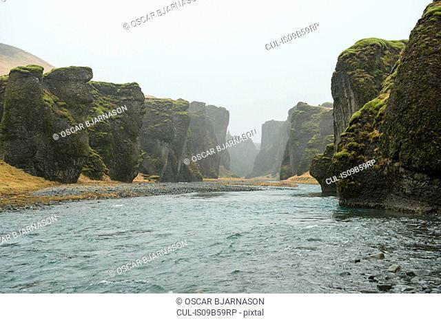 View of river and canyons at Fjadrargljufur, Iceland