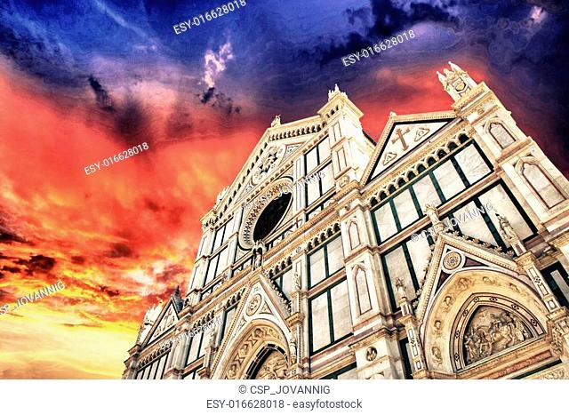 Cathedral of Santa Croce in Florence, view from the street