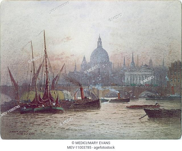 St Paul's Cathedral from the River' – with London Bridge