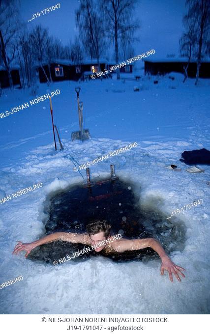 Winterbath after Sauna, Northern Sweden