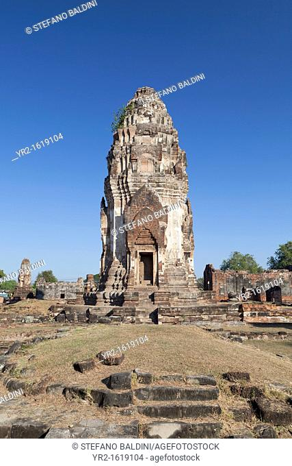The ancient ruins of Wat Phra Si Rattana Mahathat, Lopburi, Thailand  The main prang as seen from behind