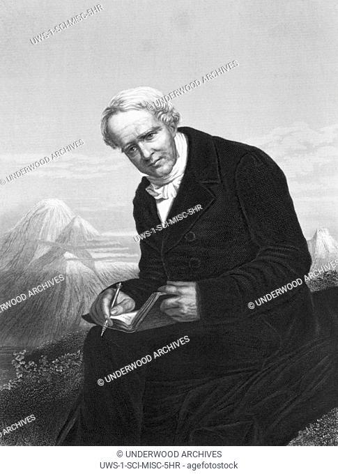 c. 1830.A portrait engraving of naturalist, explorer and geographer Alexander von Humboldt