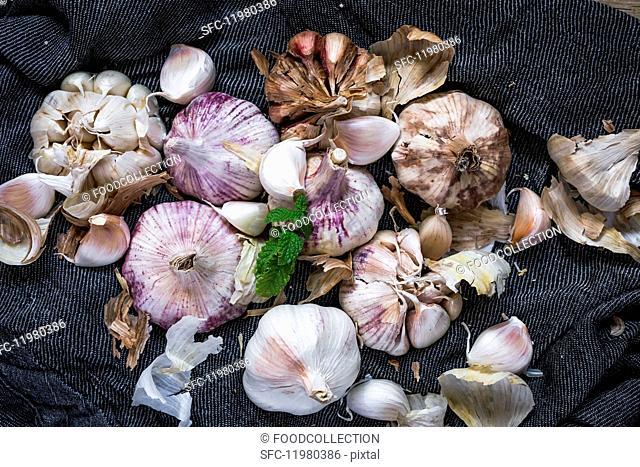 Purple garlic on a towel with herbs