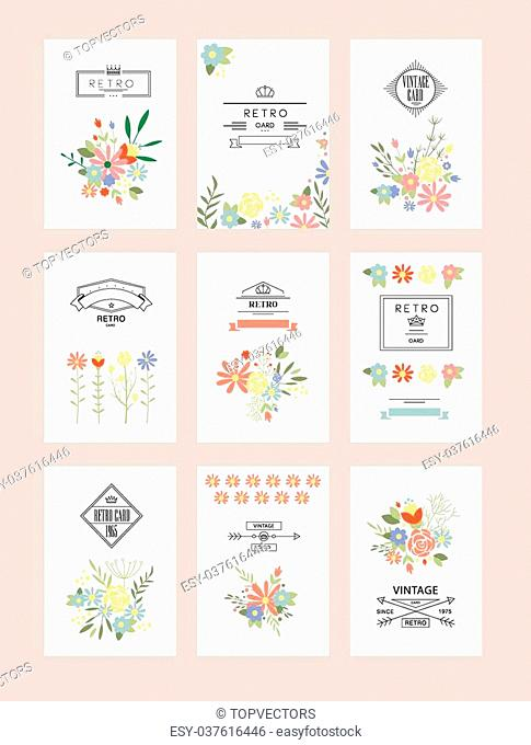 Floral collection of romantic invitations Wedding, marriage, bridal, birthday, Valentines day Isolated. Vector illustration