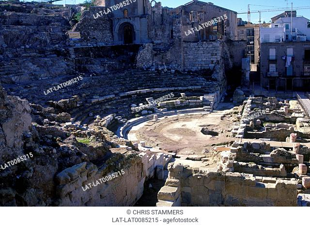 Costa Calida. Roman amphitheatre site. Excavations. Steps,stage