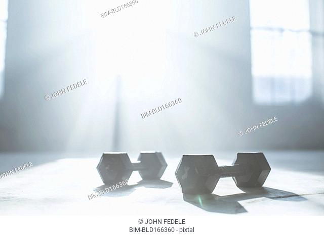 Dumbbell weights on floor in sunlight