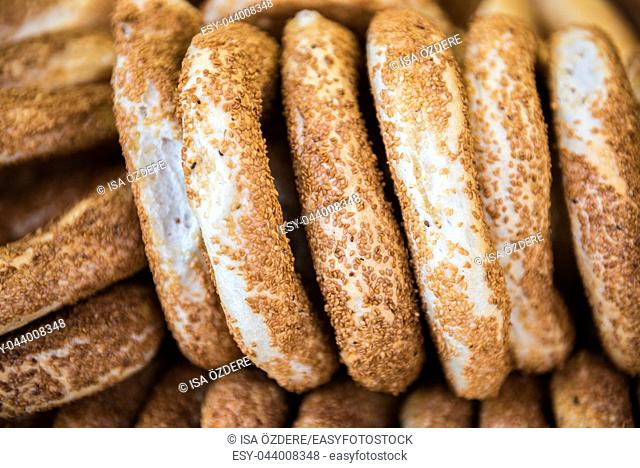 """View of bagel:traditional street food called """"""""simit"""""""" in Turkey"""