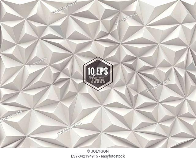 Triangular 3d abstract background in monochrome color