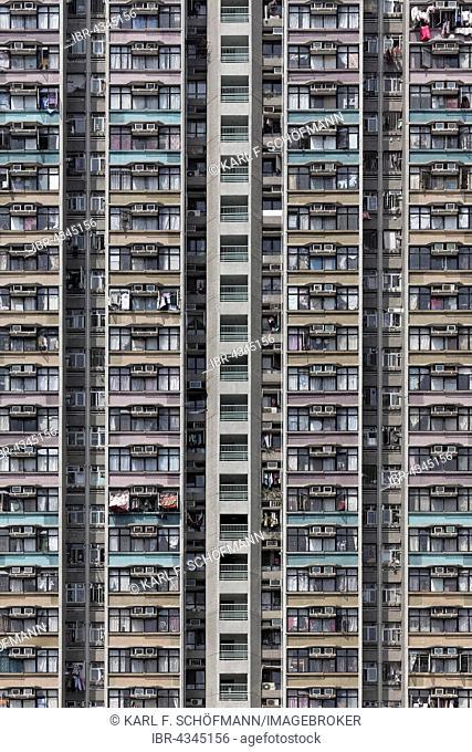 high-rise residential building Tin Wai New Town Shue, social housing, Yuen Long District, New Territories, Hong Kong, China