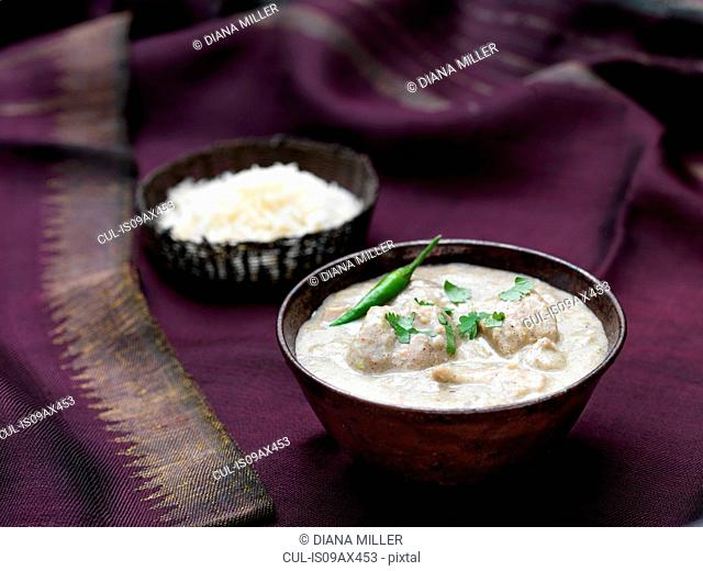 White chicken korma with rice