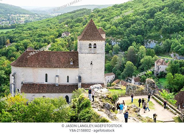 Fortified church of Saint-Cirq-Lapopie, Lot Department, Midi-Pyrénées, France