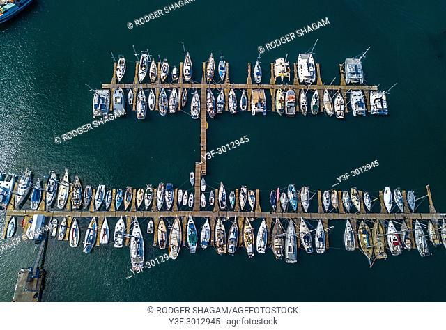 Yachts moored safely in a marina. Hout Bay, Cape Town, South Africa