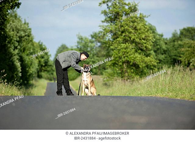 Woman with a Malinois or Belgian Shepherd Dog