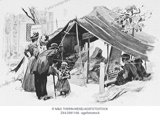 Tunisian Pavilion, Carpet Weavers under a tent, Universal Exhibition 1900 in Paris, Picture from the French weekly newspaper l'Illustration, 15th September 1900