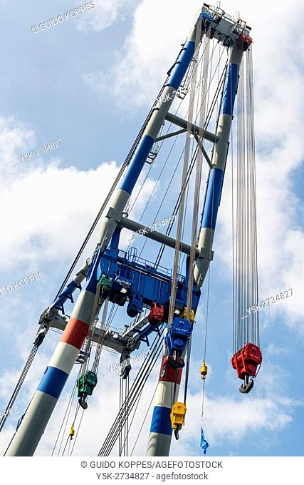 Rotterdam, Netherlands. Heavy lifting crane mounted on a floating derrick during World Habor Days 2016