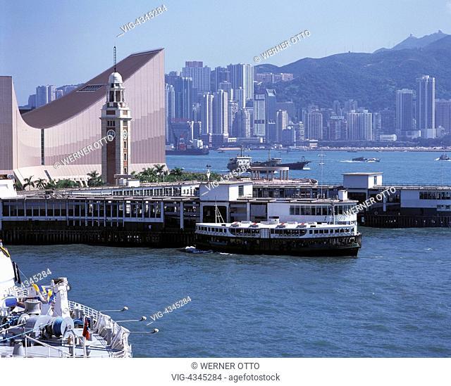 HK-Hongkong, Kowloon, Hafen, Tsim-Sha-Tsui-Kulturzentrum, Uhrenturm, Anlegestelle, Star-Faehre HK-Hong Kong, Kowloon, harbour, Tsim Sha Tsui Cultural Complex