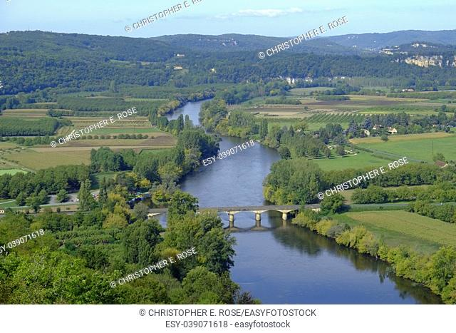 Late summer view over patchwork fields and river of the Dordogne valley from Domme, Aquitane, France