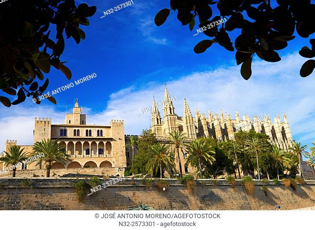 Palma de Mallorca, Cathedral, Almudaina Palace, La Seu cathedral, Palma, Majorca, Balearic Islands, Spain, europe
