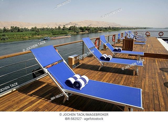 Deck chairs on a boat, Egypt, Africa