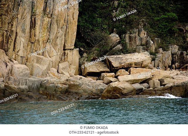 Wave erosion rocks at the coast of Jin Island (Tiu Chung Chau), off Sai Kung, Hong Kong