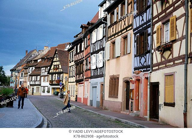 Sep 2008 - Colorful half timbered houses on quai de la Poissonnerie street in Petite Venise, Colmar, Alsace, France