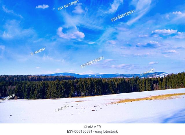 Winter landscape, combs of Jeseniky in the background, Northern Moravia, Czech Republic, Cental Europe