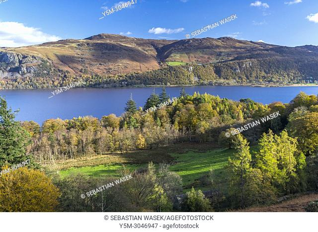 View across Derwent Water towards east, Lake District National Park, Cumbria, England, United Kingdom, Europe