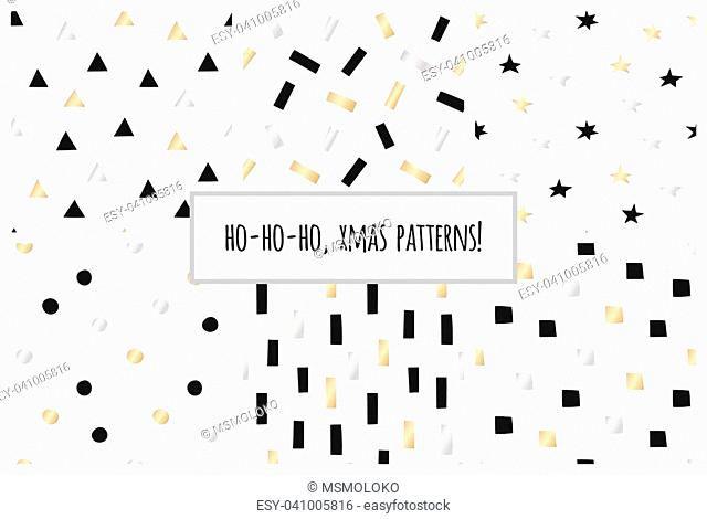 Set of white and gold geometric seamless patterns for Christmas and New Year's wrapping paper. Vector illustration