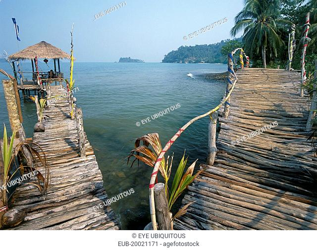 Lonley Beach, Aow Bai Lan. Bridge leading to a wooden platform built over the sea