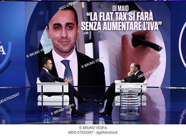 The Minister of Economic Development of the Italian Republic Luigi Di Maio and italian television host Bruno Vespa during the television show Porta a Porta