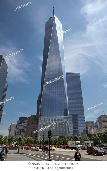 Street view of One World Trade Center, New York, New York State, Lower Manhattan, USA