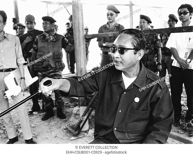 Cambodian Prime Minister Lon Nol at a press conference in Phnom Penh, on March 6, 1972. Lon Nol, dissolved the National Assembly and assumed dictatorial power